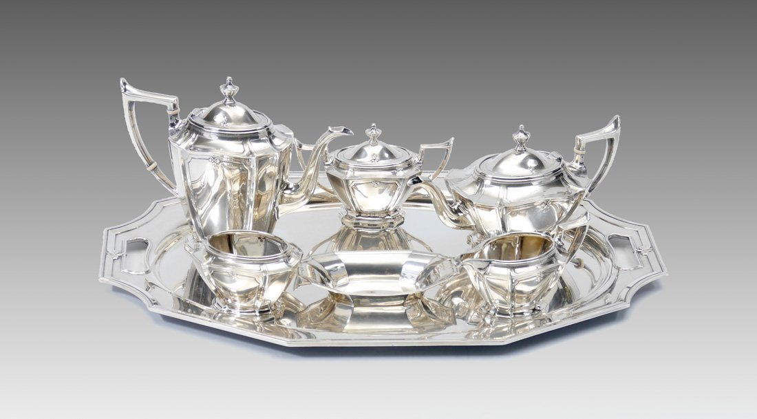 7 PIECE GORHAM KING ALBERT STERLING TEA SERVICE