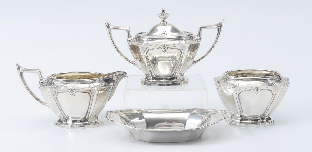 7 PIECE GORHAM KING ALBERT STERLING TEA SERVICE - 5