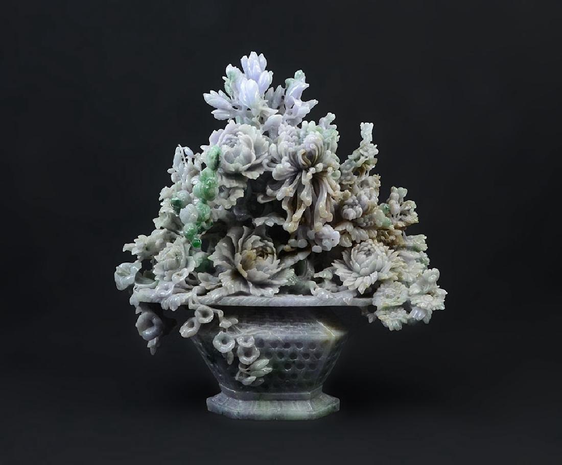 LARGE CARVED JADEITE FLOWER VASE