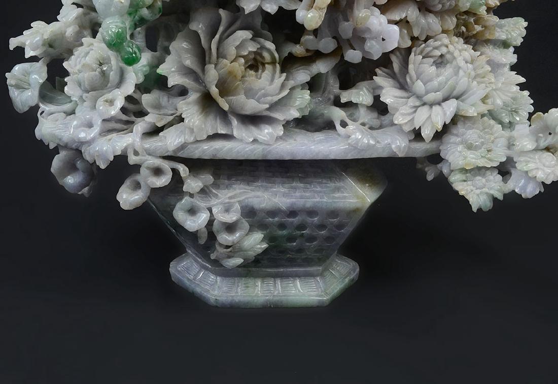 LARGE CARVED JADEITE FLOWER VASE - 3