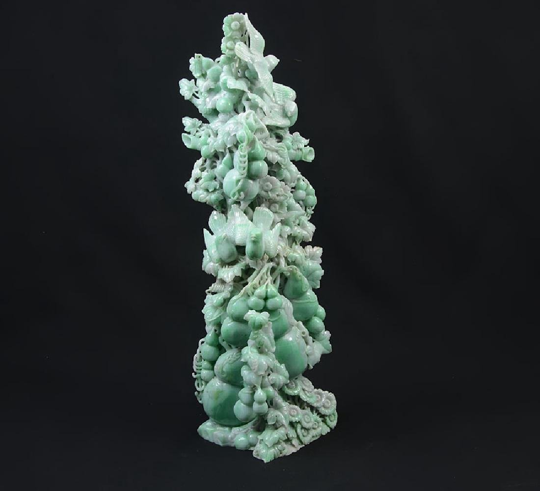 CARVED JADEITE GOURD VINE WITH BIRDS FIGURAL GROUP
