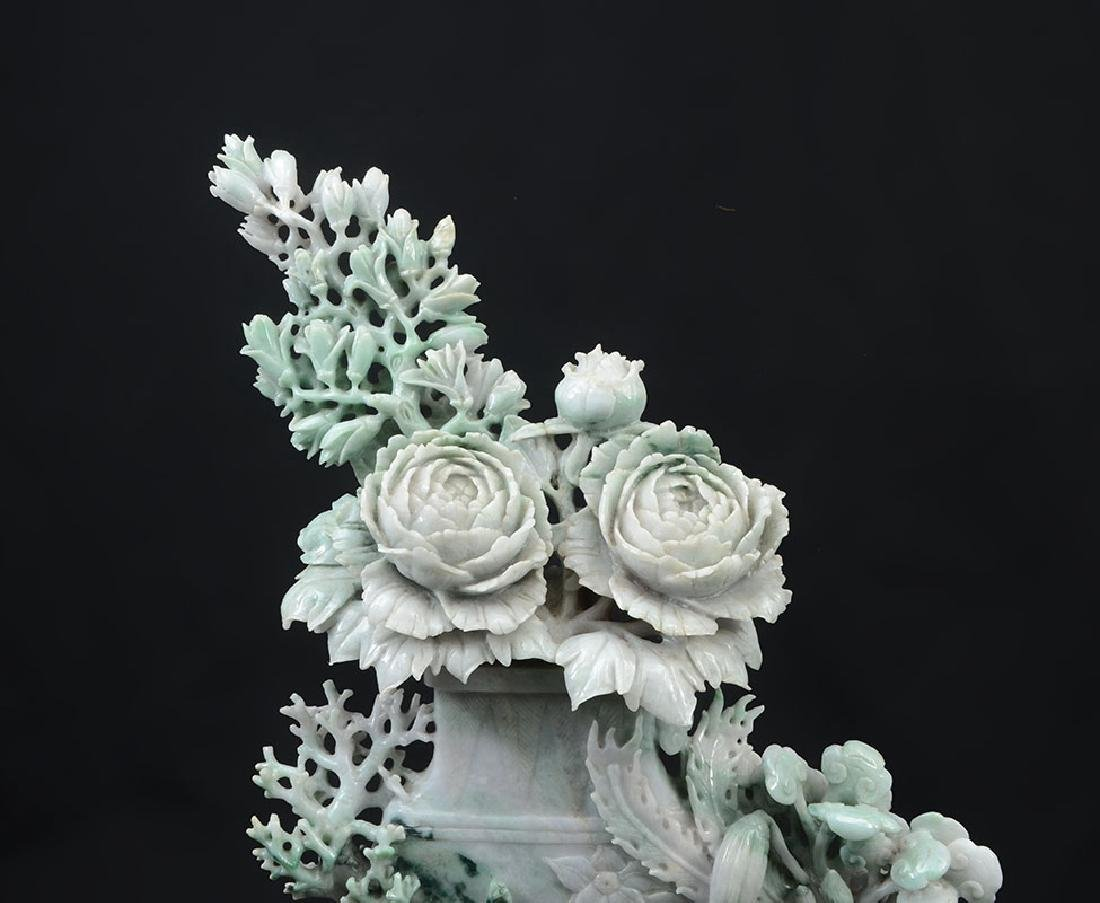 CHINESE CARVED JADEITE FLOWER VASE & FLOWERS - 2