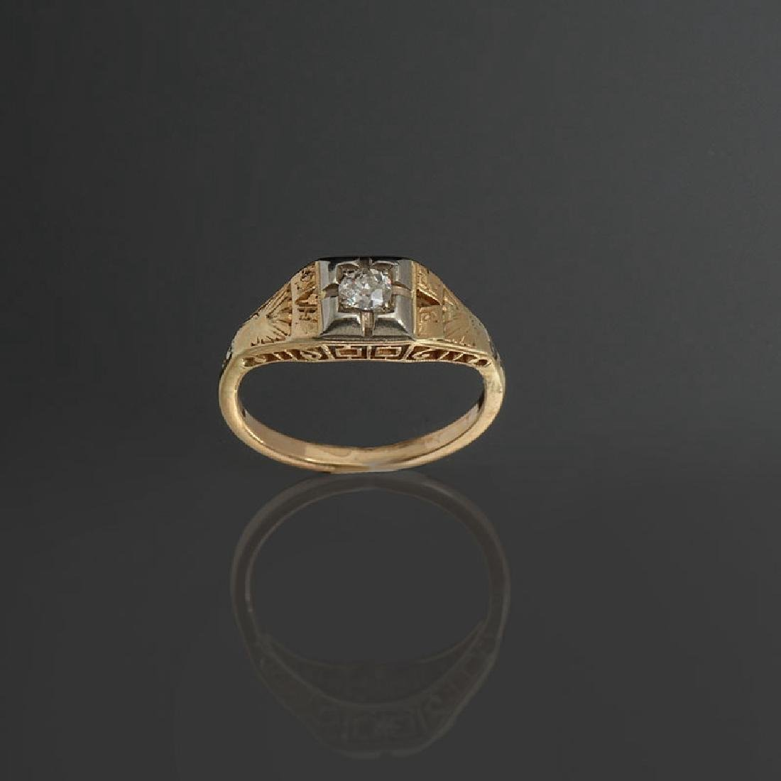 14K & DIAMOND EDWARDIAN FILIGREE SOLITAIRE RING