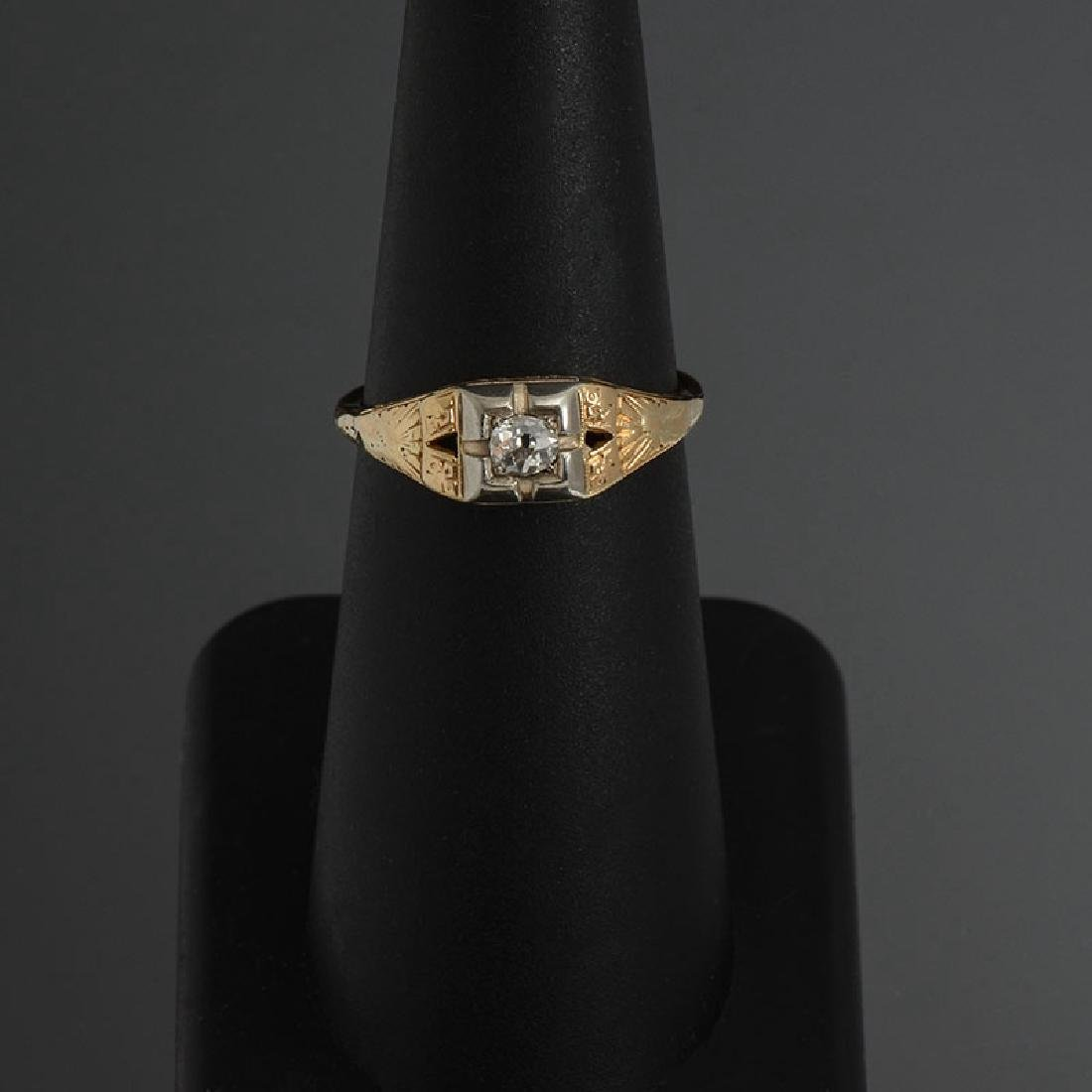 14K & DIAMOND EDWARDIAN FILIGREE SOLITAIRE RING - 2