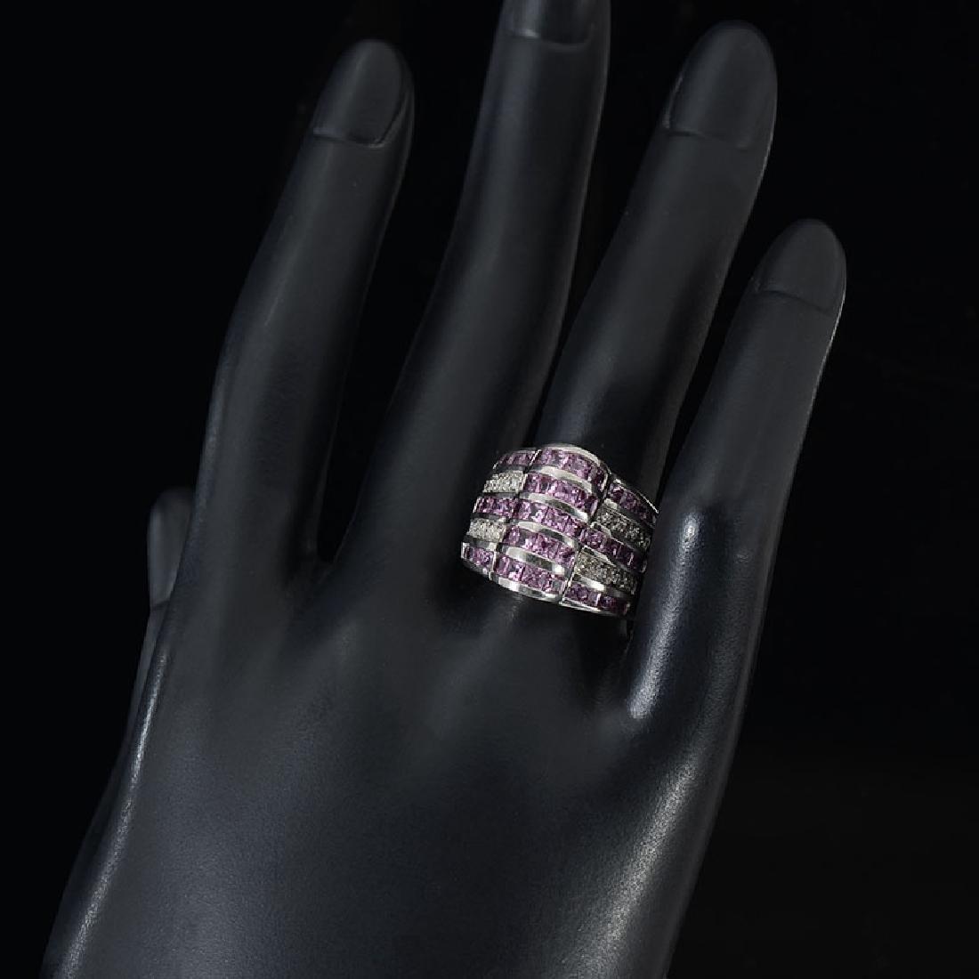 14K PINK TOURMALINE AND DIAMOND RING - 2
