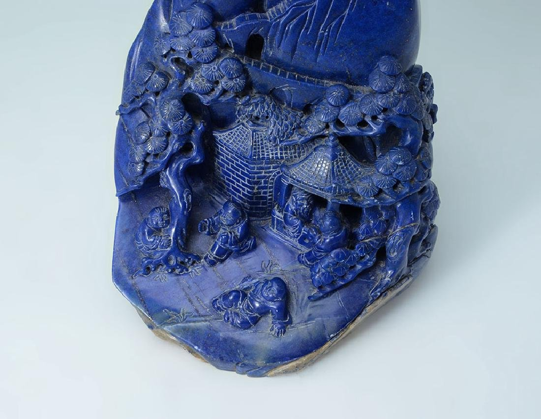 CHINESE CARVED LAPIS LAZULI SCHOLARS MOUNTAIN - 2