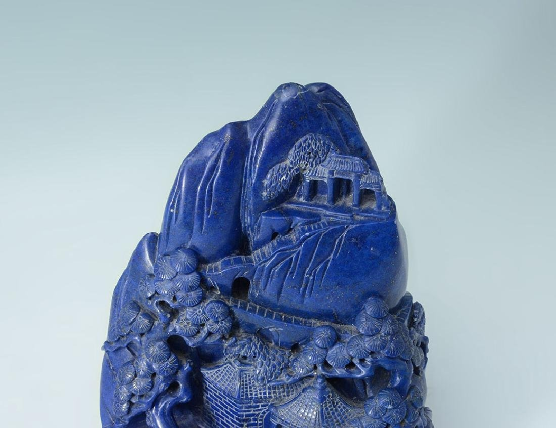 CHINESE CARVED LAPIS LAZULI SCHOLARS MOUNTAIN - 3