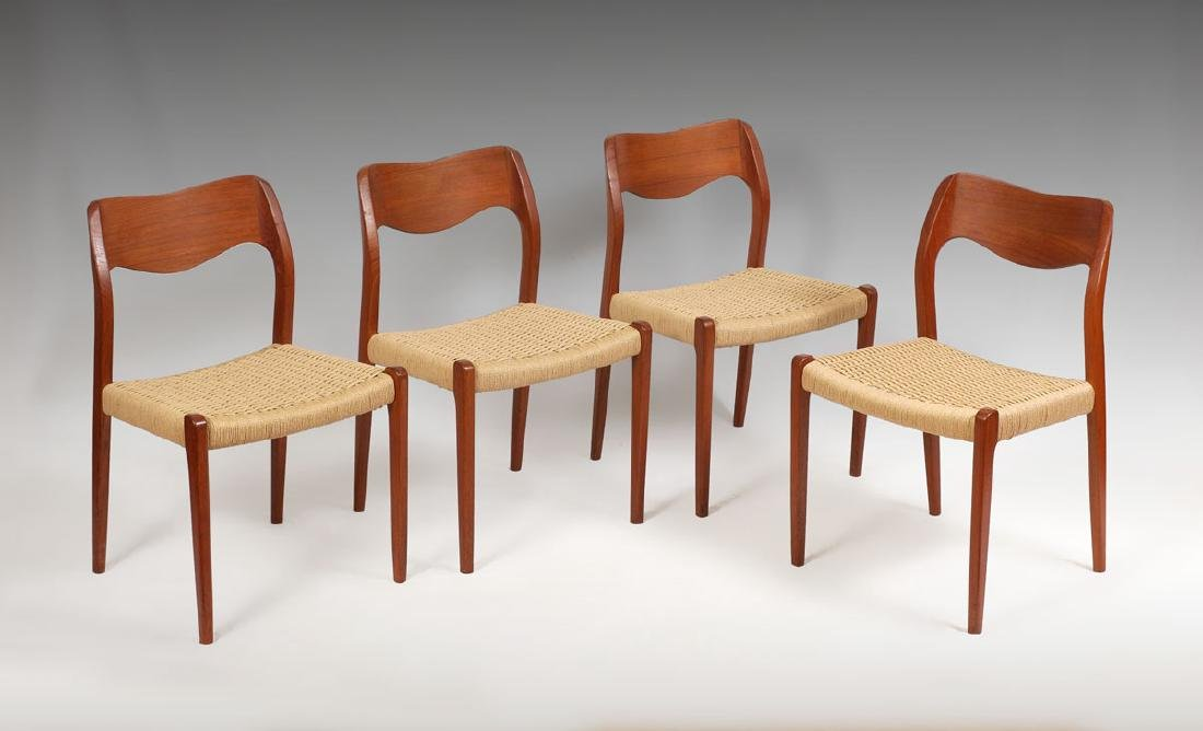 4 NIELS MOLLER MODEL 71 DANISH DINING CHAIRS