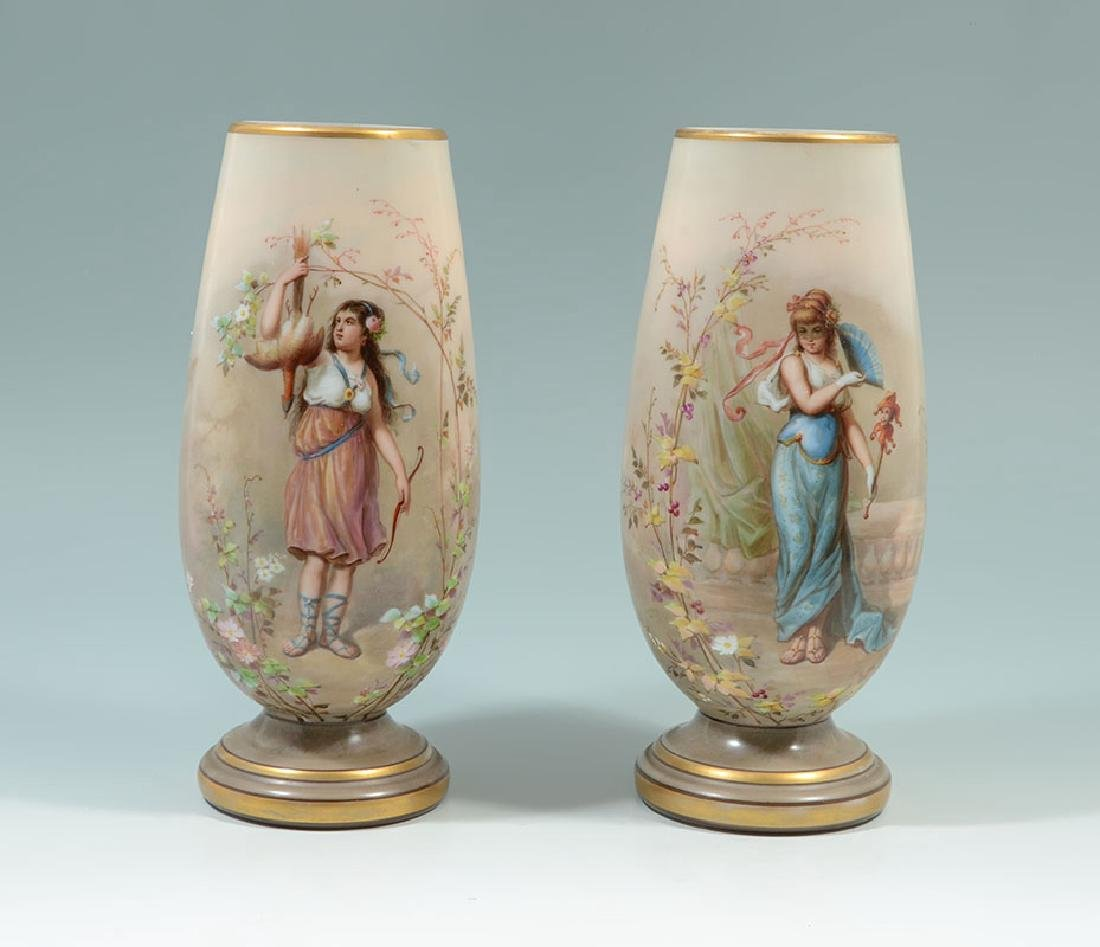 PAIR JOSEF AHNE HAND PAINTED GLASS PORTRAIT VASES