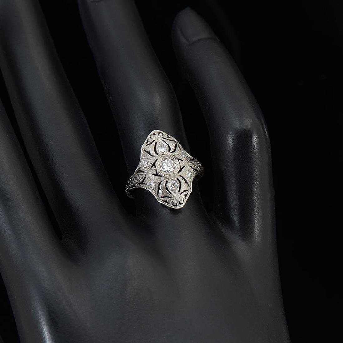 PLATINUM EDWARDIAN DIAMOND DINNER RING - 2