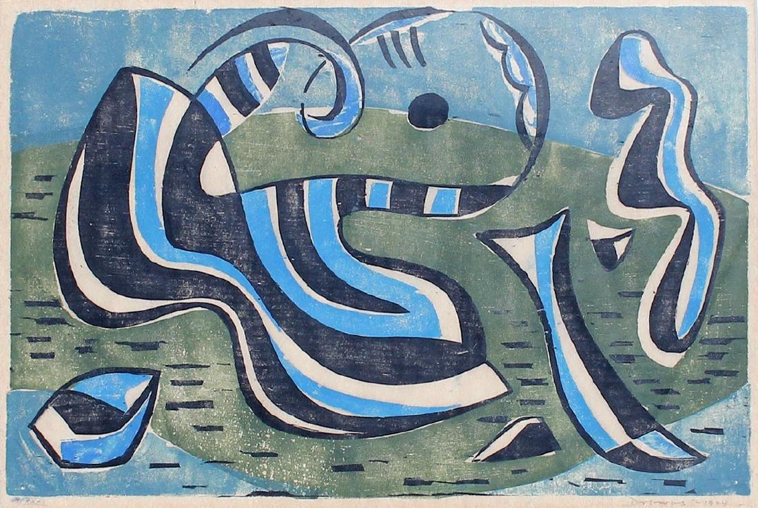 WERNER DREWES WOOCUT ''INNER TROPICAL SEAS'' 1944