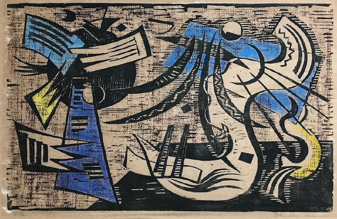 WERNER DREWES WOODCUT ''NORTHERN TRANSITION''