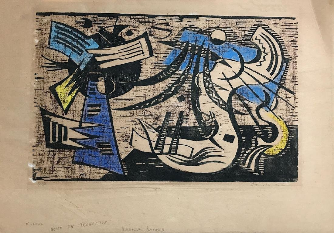 WERNER DREWES WOODCUT ''NORTHERN TRANSITION'' - 6