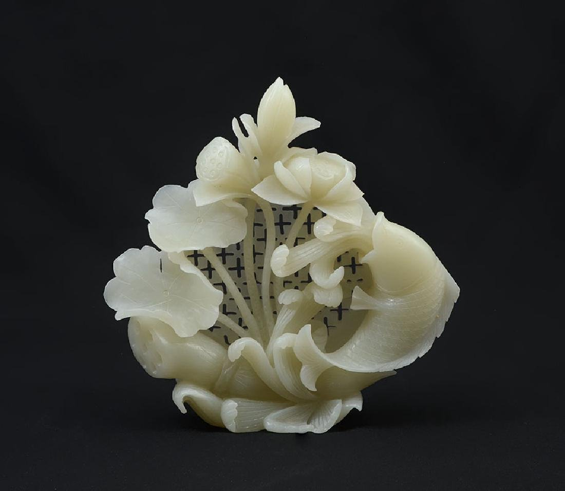 CARVED WHITE AGATE FISH & WATER LILIES FIGURAL GRO