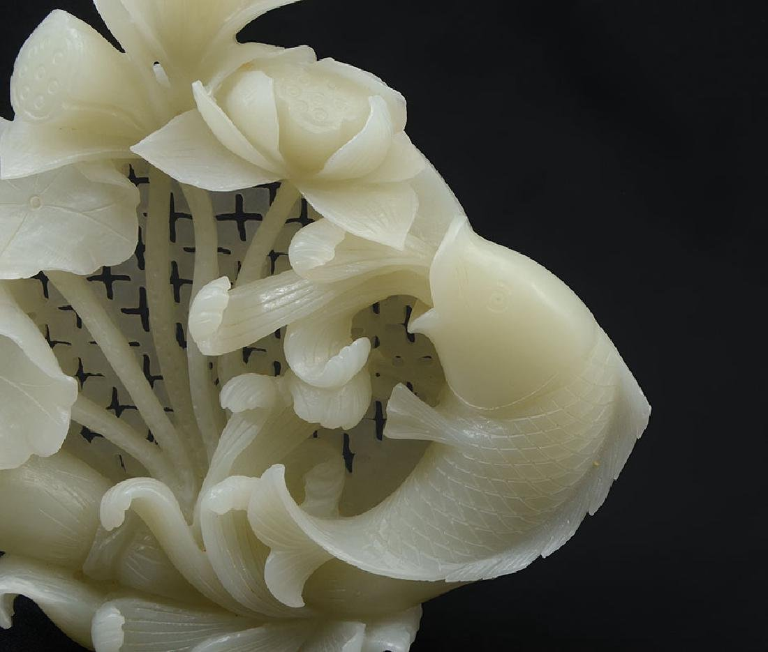 CARVED WHITE AGATE FISH & WATER LILIES FIGURAL GRO - 2
