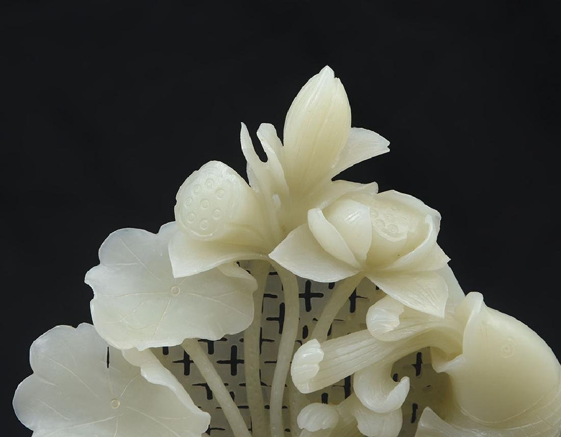 CARVED WHITE AGATE FISH & WATER LILIES FIGURAL GRO - 3
