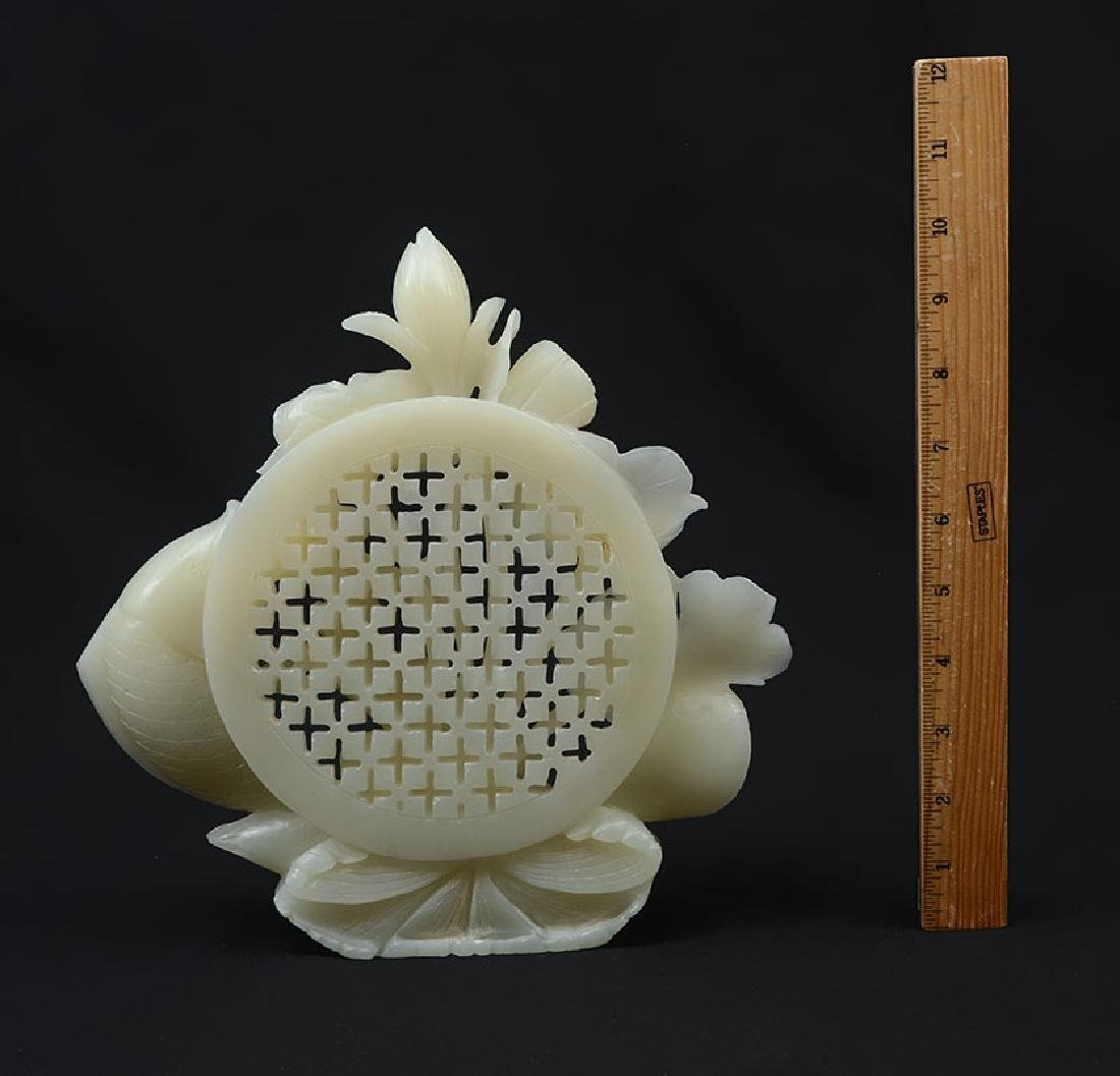 CARVED WHITE AGATE FISH & WATER LILIES FIGURAL GRO - 4
