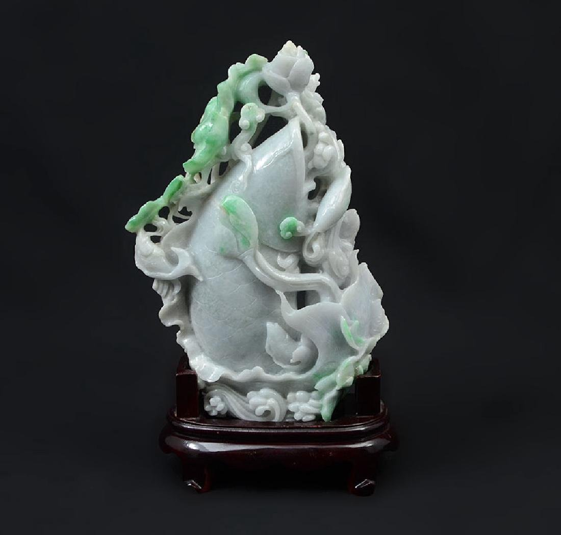 CHINESE CARVED JADEITE FIGURAL FISH