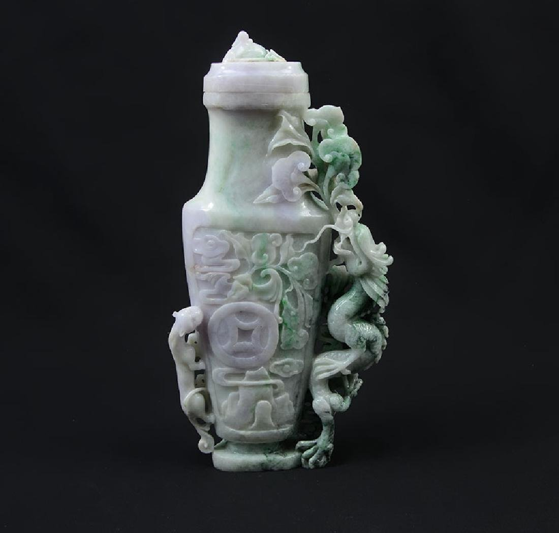 CARVED JADEITE FIGURAL DRAGON COVERED VASE