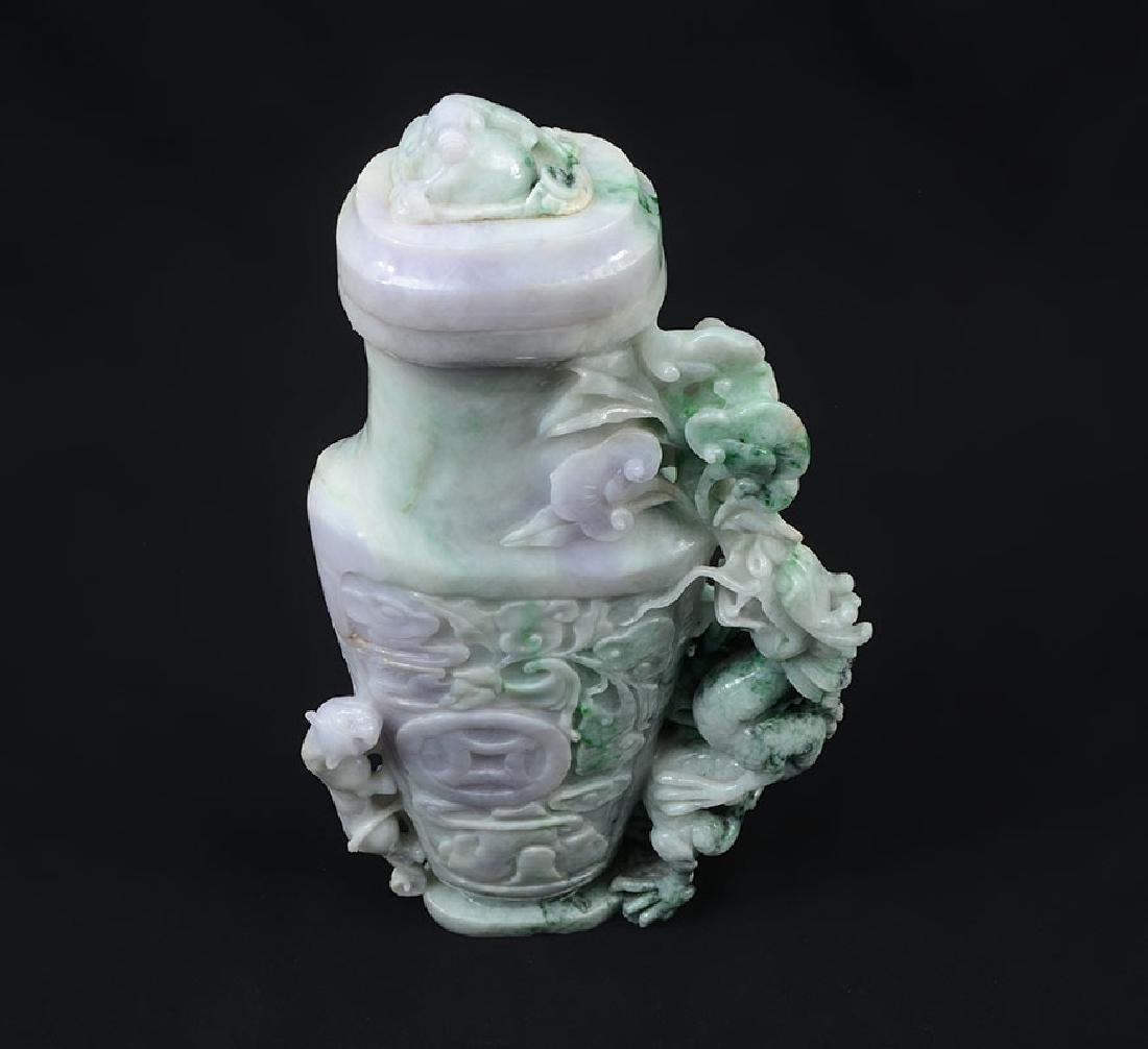 CARVED JADEITE FIGURAL DRAGON COVERED VASE - 2