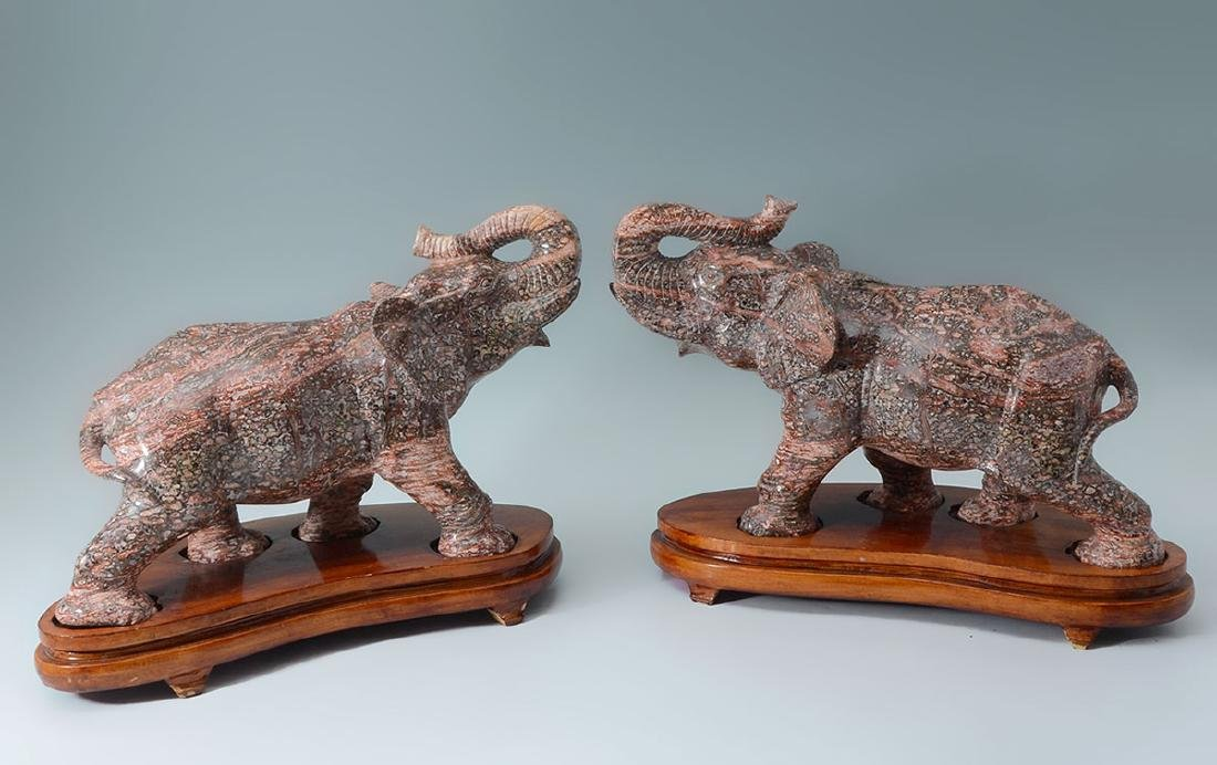 PAIR CARVED BRECCIATED JASPER ELEPHANTS