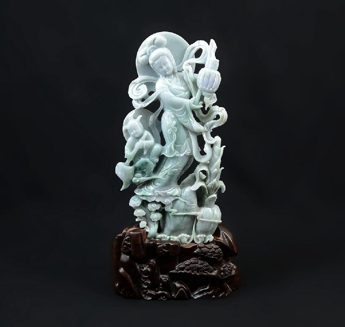 CHINESE CARVED JADEITE GUAN YIN AND ATTENDANT