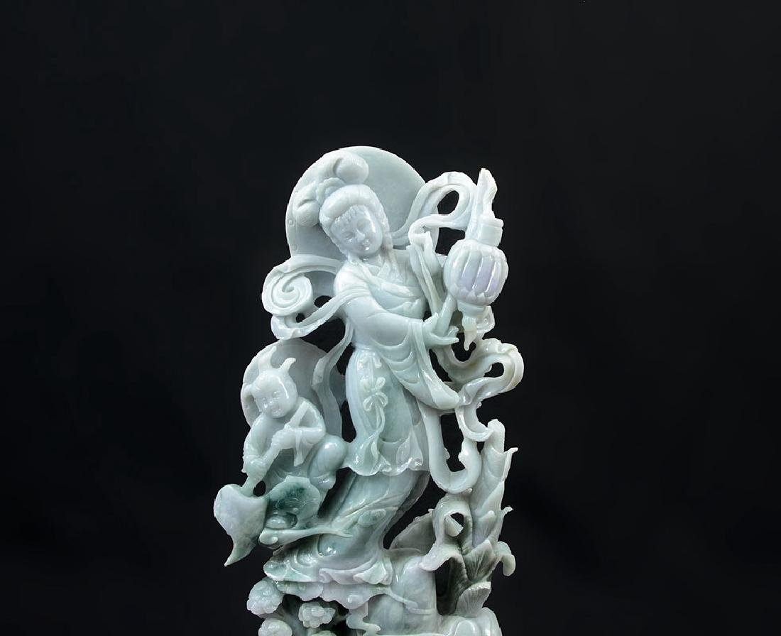 CHINESE CARVED JADEITE GUAN YIN AND ATTENDANT - 2