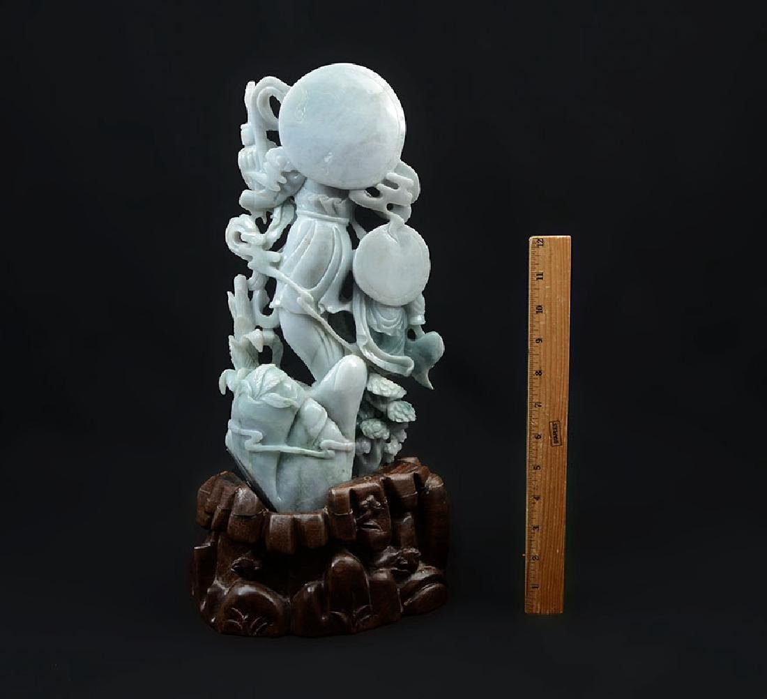 CHINESE CARVED JADEITE GUAN YIN AND ATTENDANT - 4