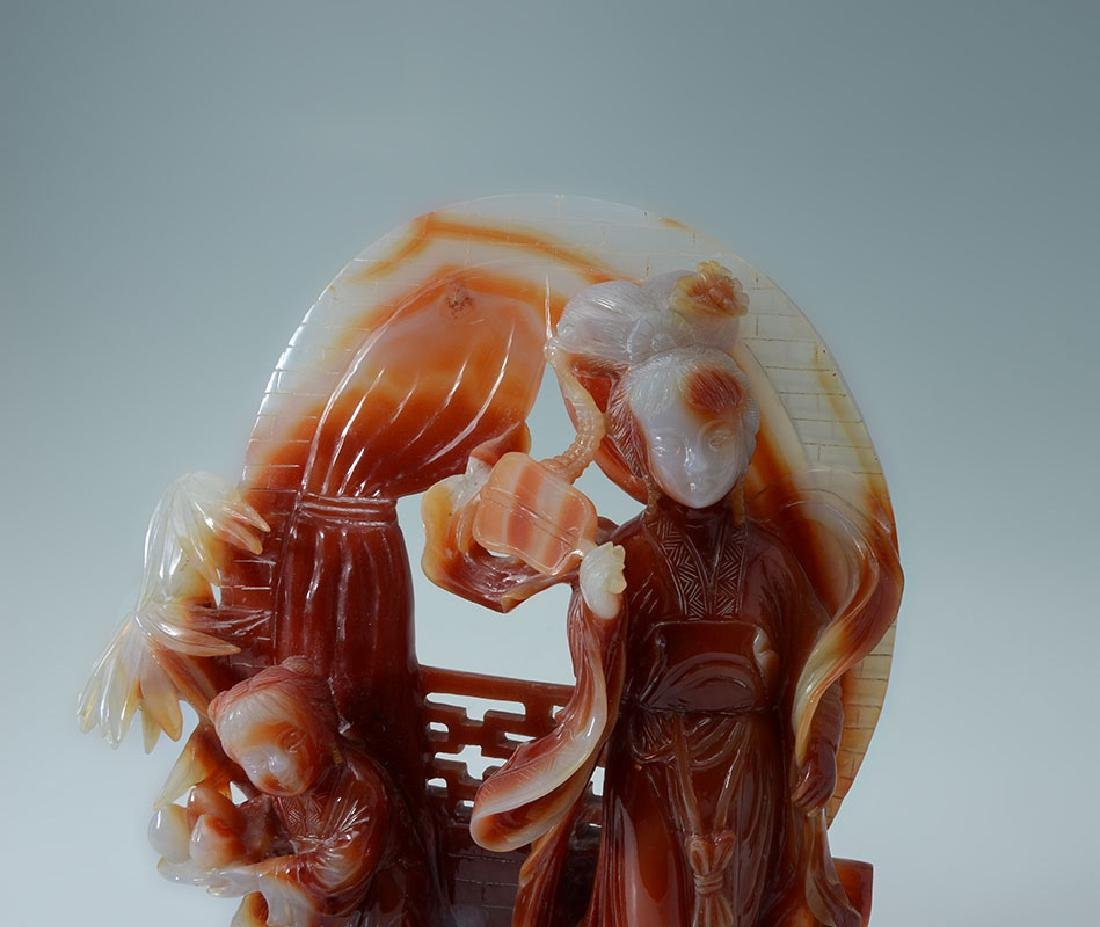 CARVED CARNELIAN AGATE MOTHER & CHILD GROUP - 3