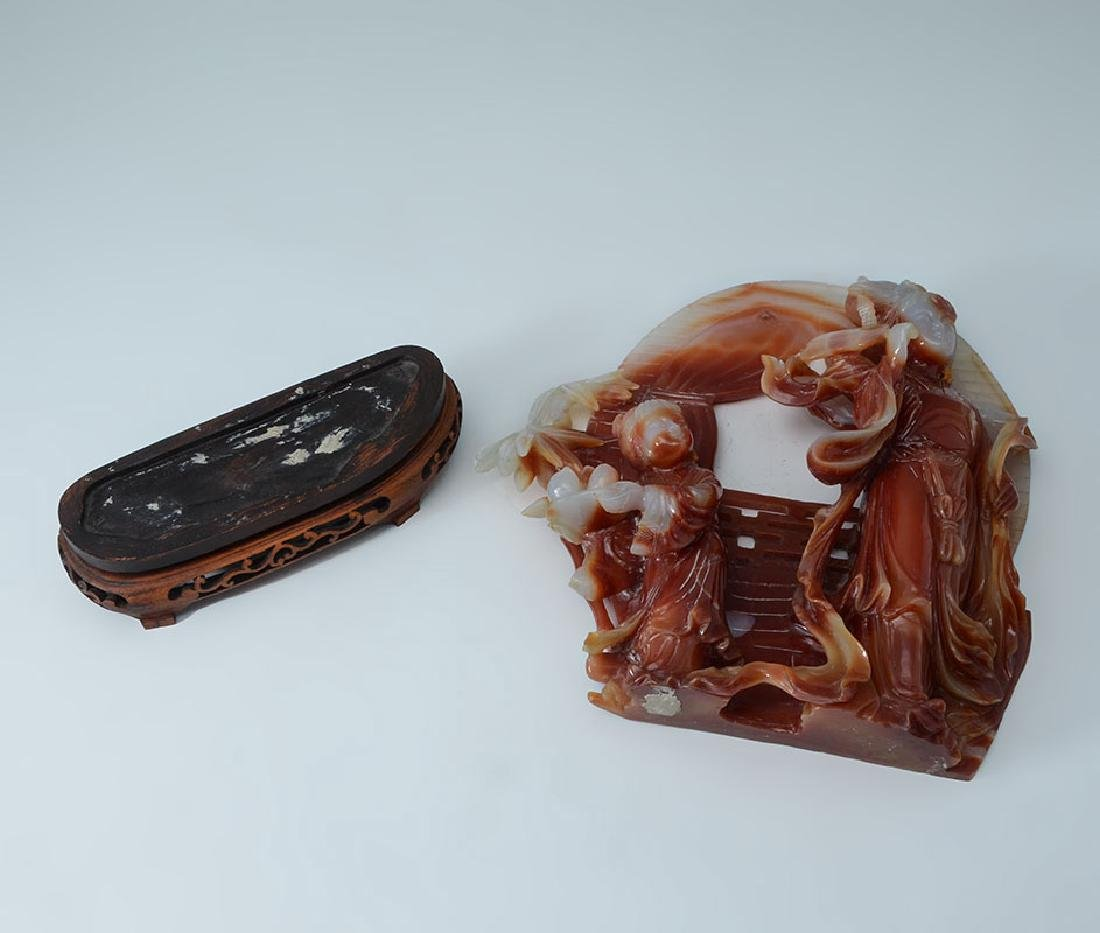 CARVED CARNELIAN AGATE MOTHER & CHILD GROUP - 4