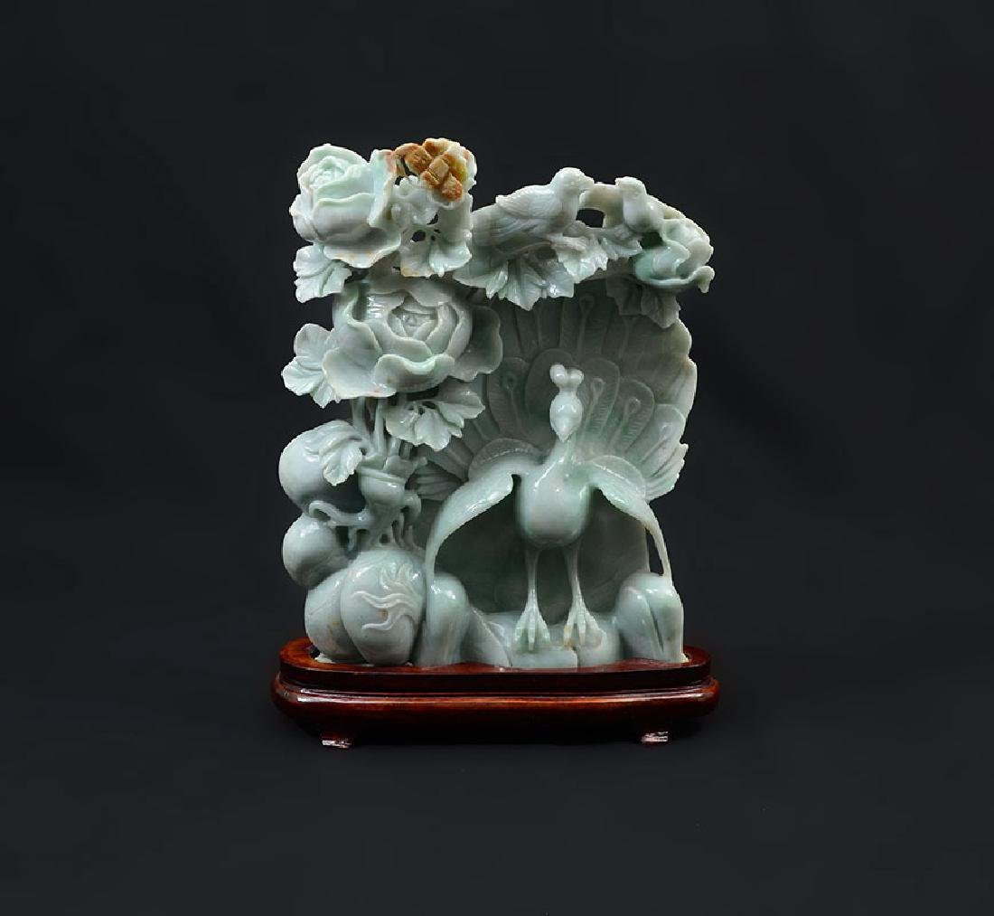 CHINESE CARVED JADEITE PEACOCK AND FRUIT GROUP