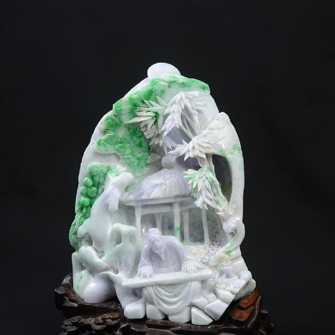 CHINESE CARVED JADEITE SCHOLARS MOUNTAIN