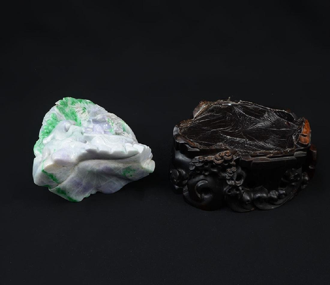CHINESE CARVED JADEITE SCHOLARS MOUNTAIN - 2