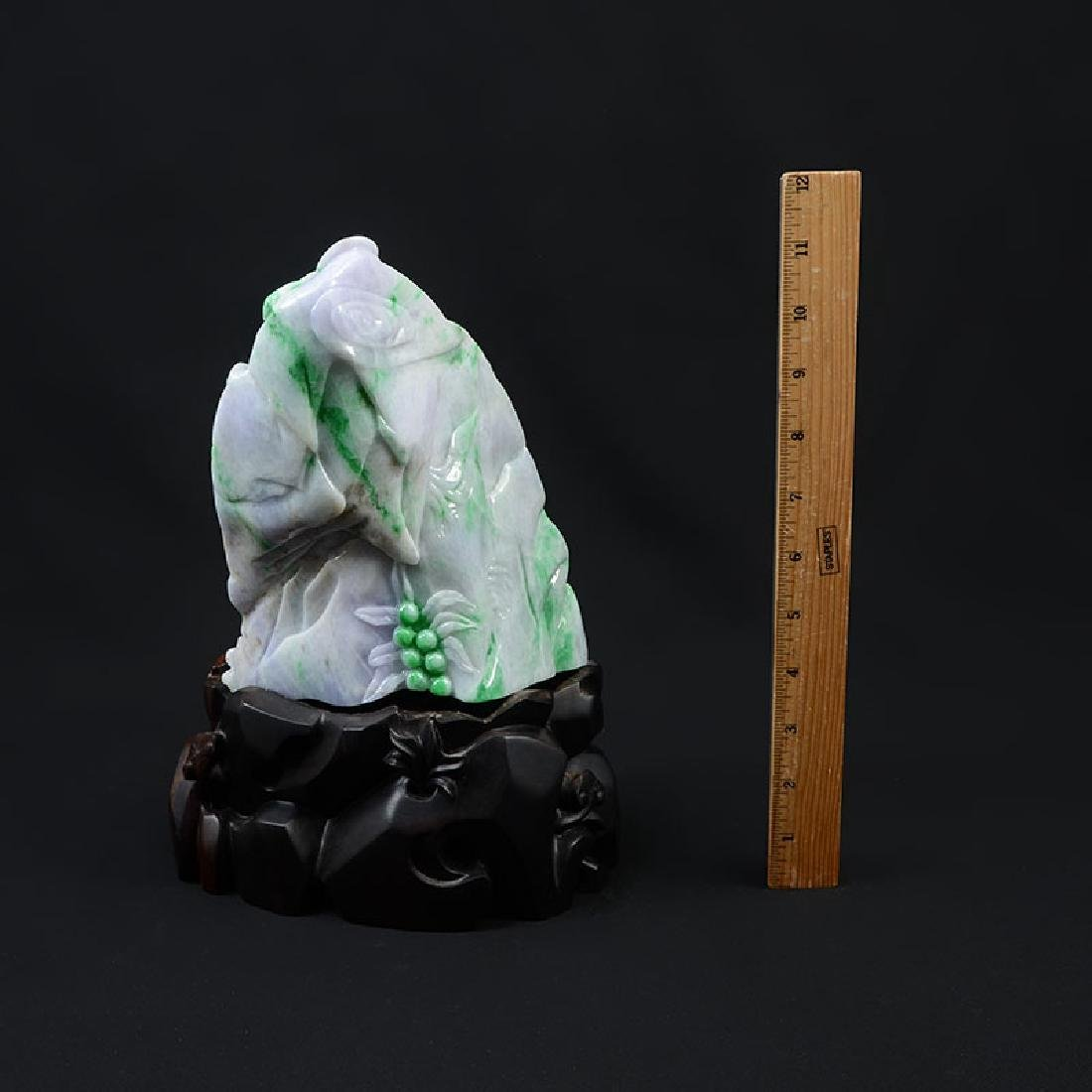 CHINESE CARVED JADEITE SCHOLARS MOUNTAIN - 3