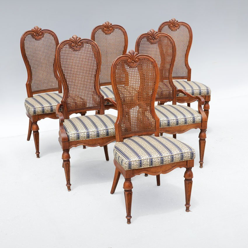 6 DREXEL MARCHESA CANE BACK DINING CHAIRS