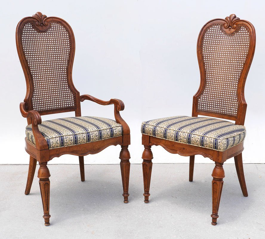 6 DREXEL MARCHESA CANE BACK DINING CHAIRS - 2