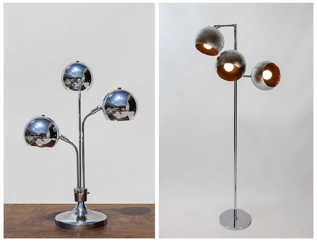 2 CHROME LAMPS ATTRIB. ROBERT SONNEMAN