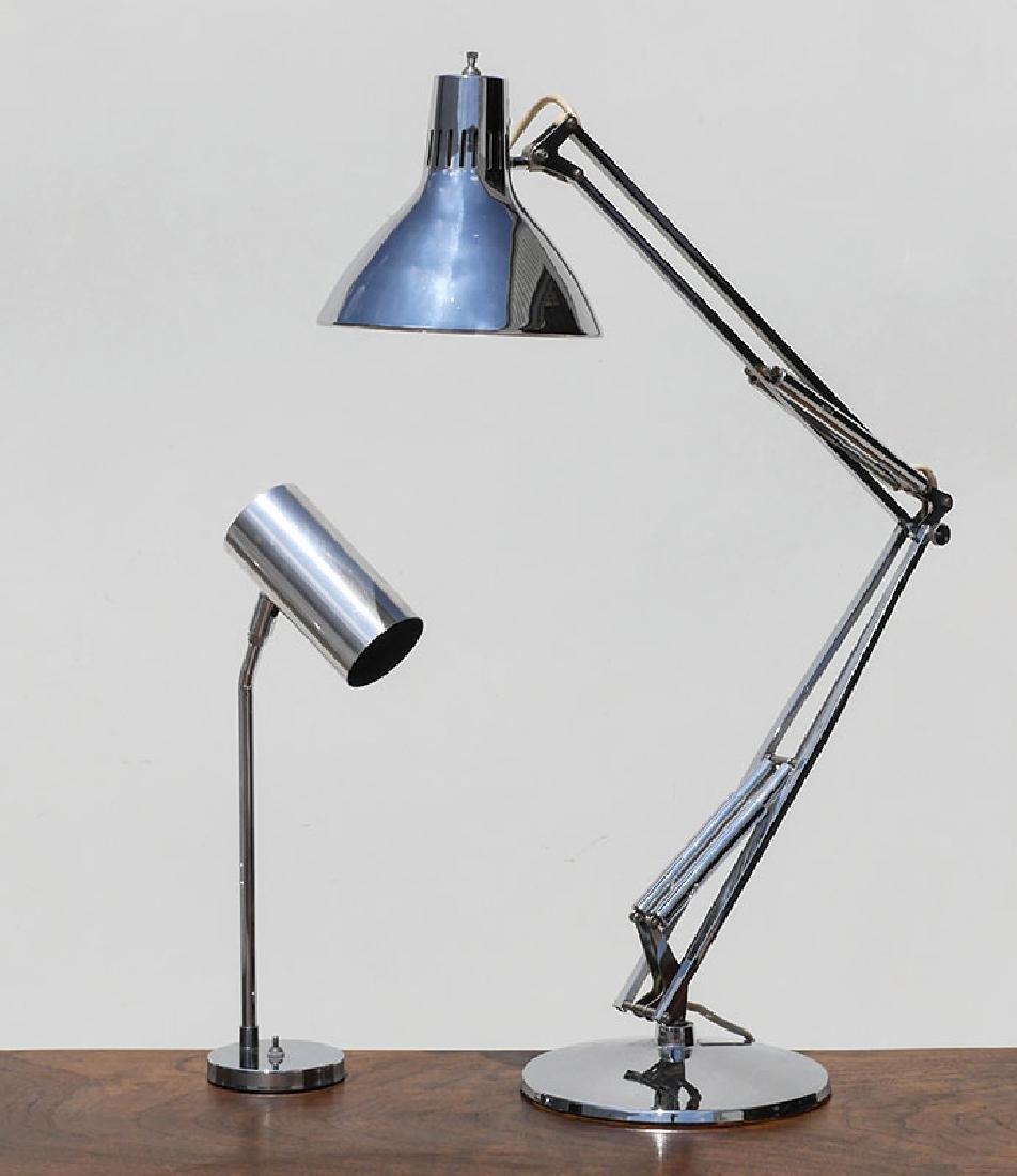 2 CHROME DESK LAMPS LUXO, KOCH & LAW