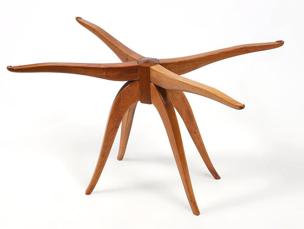 MID CENTURY TEAK SPIDER LEG SIDE TABLE