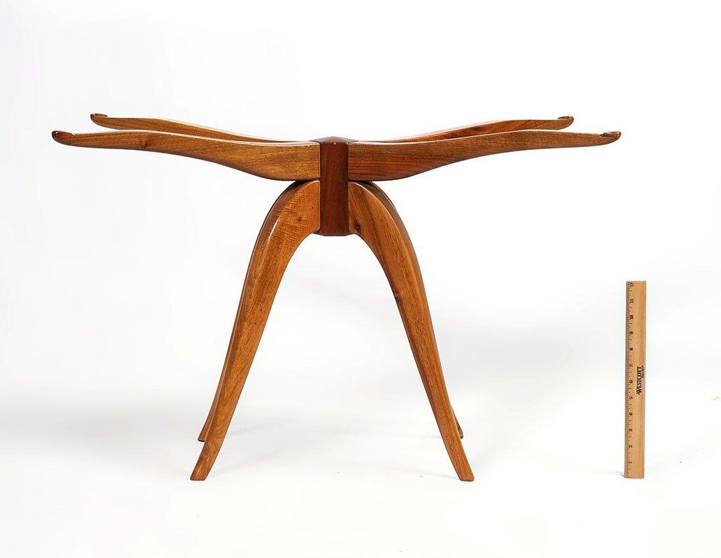 MID CENTURY TEAK SPIDER LEG SIDE TABLE - 2