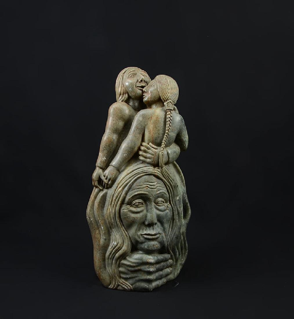 GRAHAM PETTMAN SOAPSTONE CARVED FIGURAL GROUP