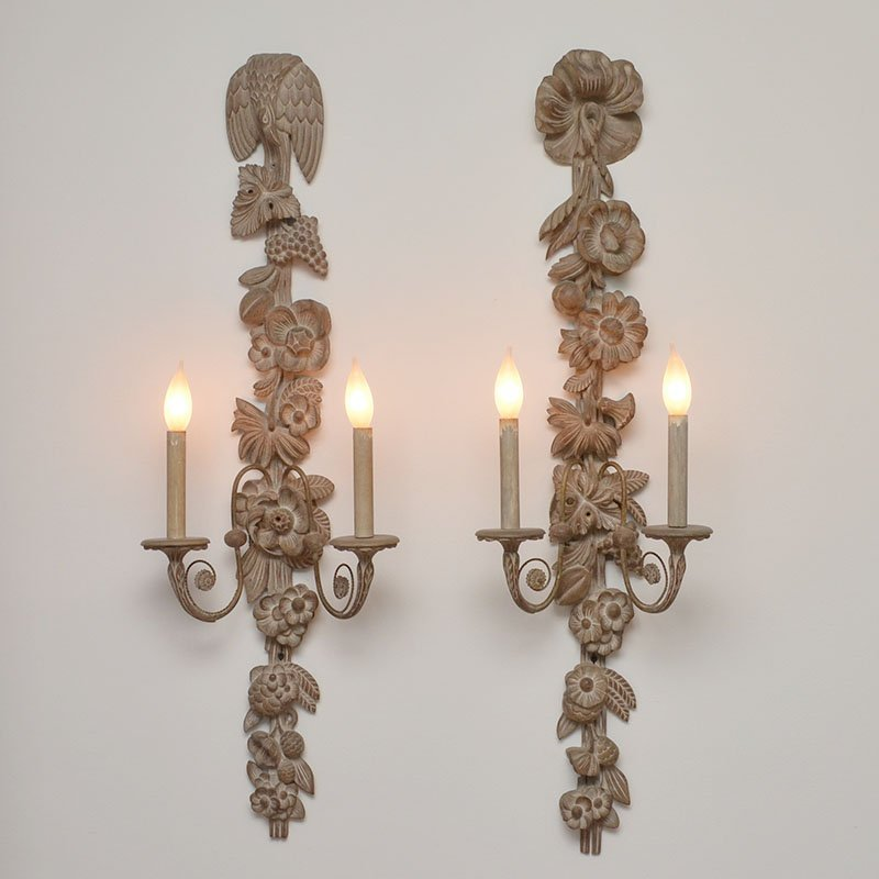4 FRENCH CARVED WALL SCONCES