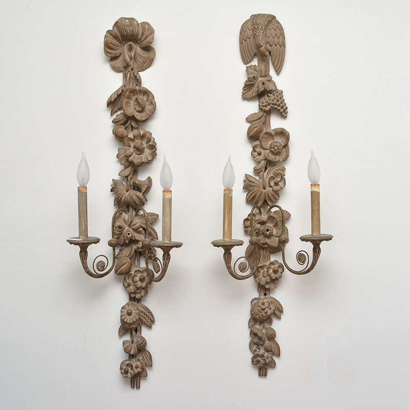 4 FRENCH CARVED WALL SCONCES - 2