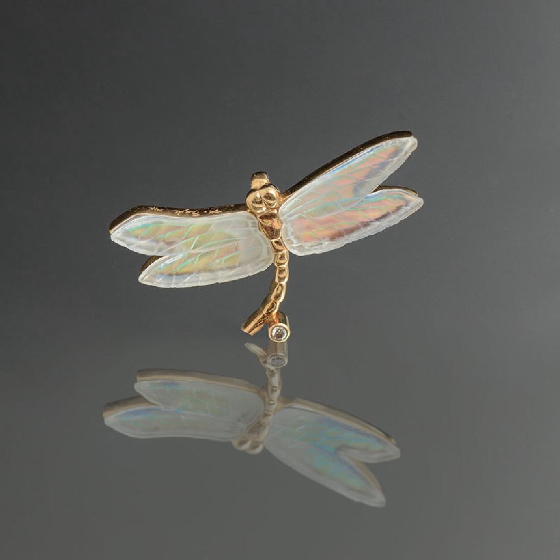 14K CARVED CRYSTAL & DIAMOND DRAGONFLY PENDANT