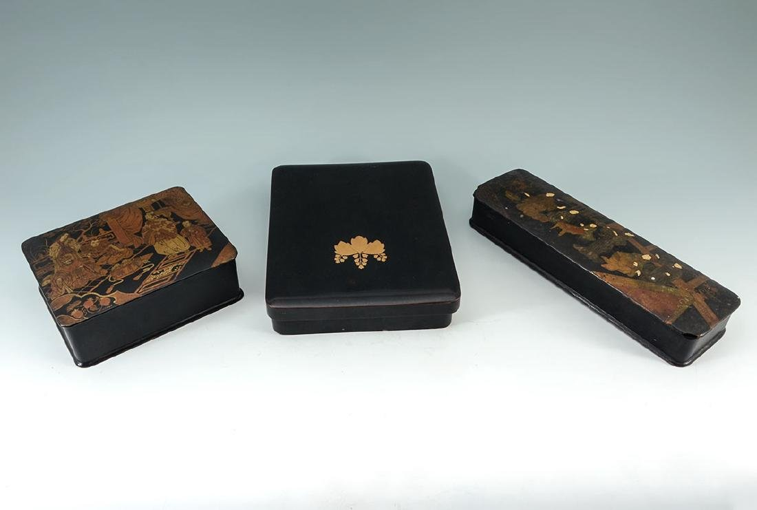 2 CHINOISERIE & OTHER BLACK LACQUER BOXES