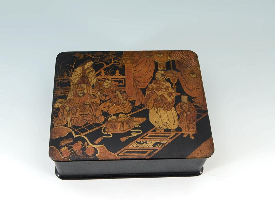 2 CHINOISERIE & OTHER BLACK LACQUER BOXES - 6