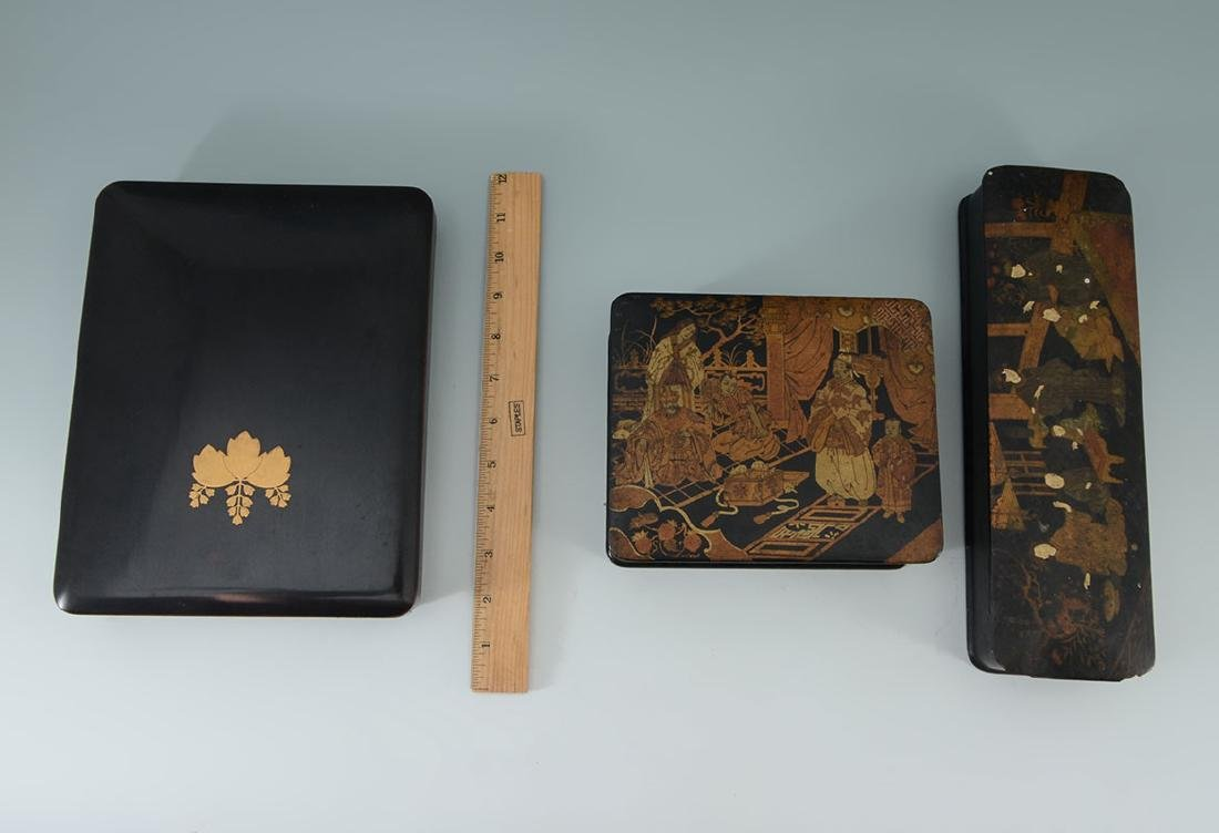2 CHINOISERIE & OTHER BLACK LACQUER BOXES - 8