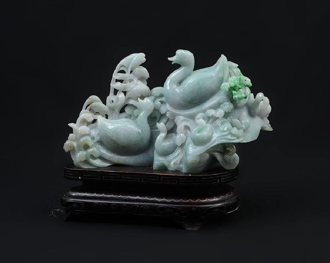 CHINESE CARVED JADEITE FAMILY OF SWANS