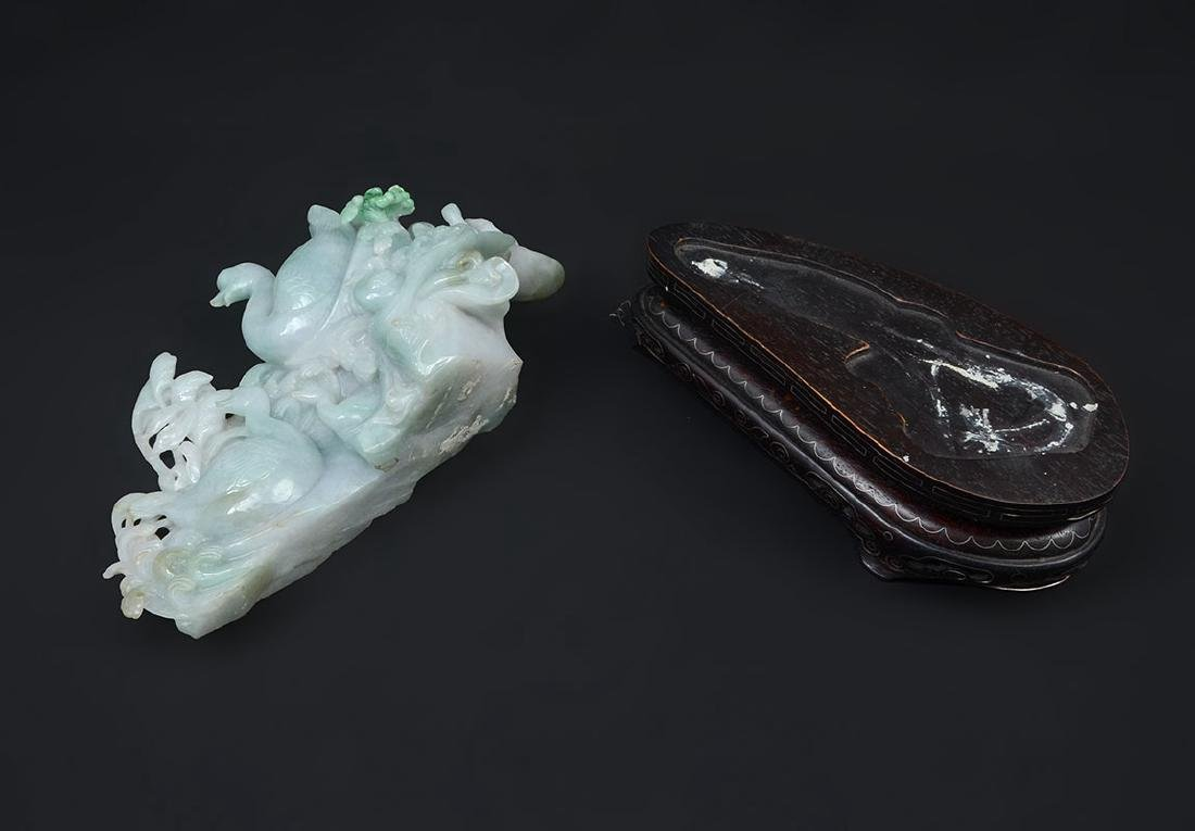 CHINESE CARVED JADEITE FAMILY OF SWANS - 3