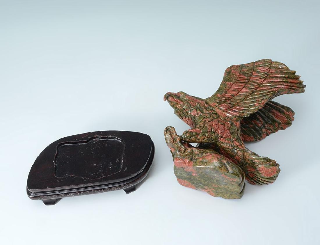 CARVED JASPER FIGURAL EAGLE - 4